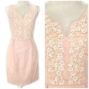 OASIS Pink Sheath Dress Floral Embellished Bodice